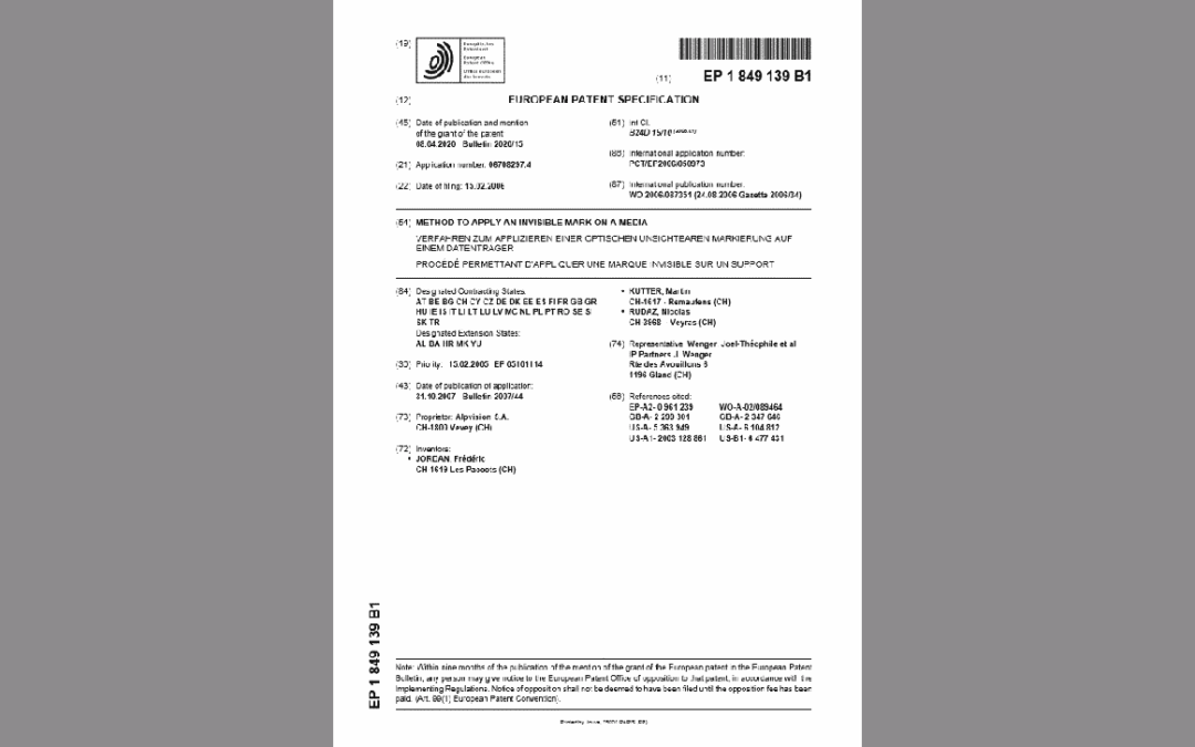 NEW PATENT FOR ALPVISION